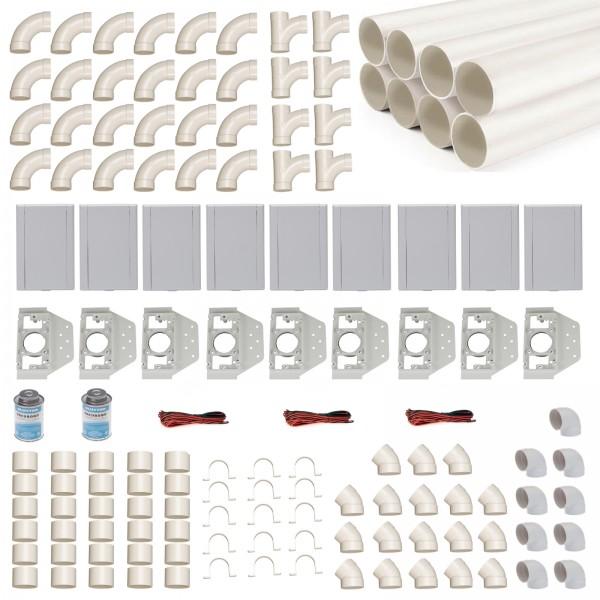 Einbau-Set für 9 Saugdosen mit Rohren